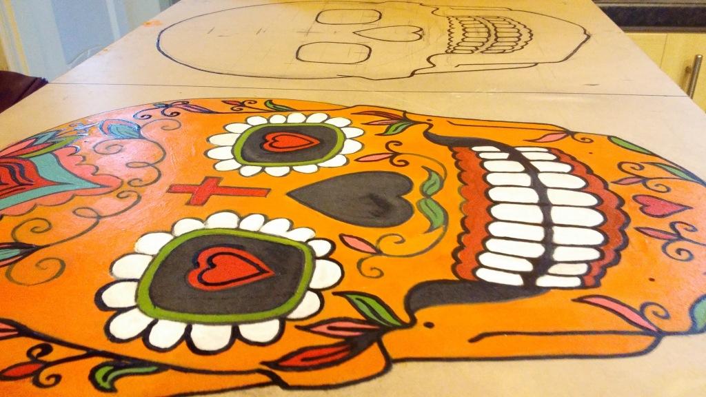 mexican skull mural