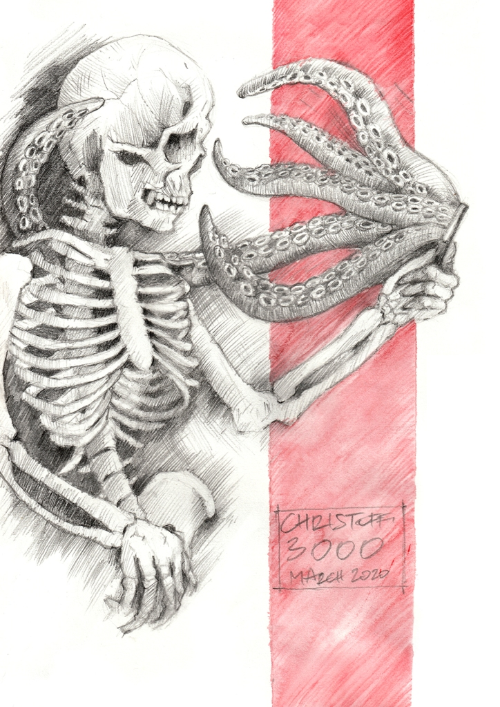 pencil drawing of skeleton with mobile phone