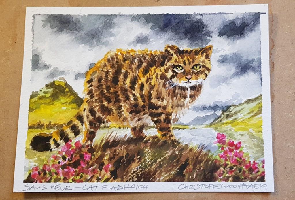 watercolour painting of Scottish wildcat