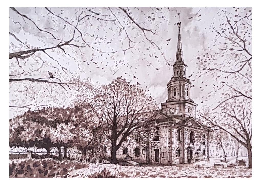 ink drawing of st paul's birmingham